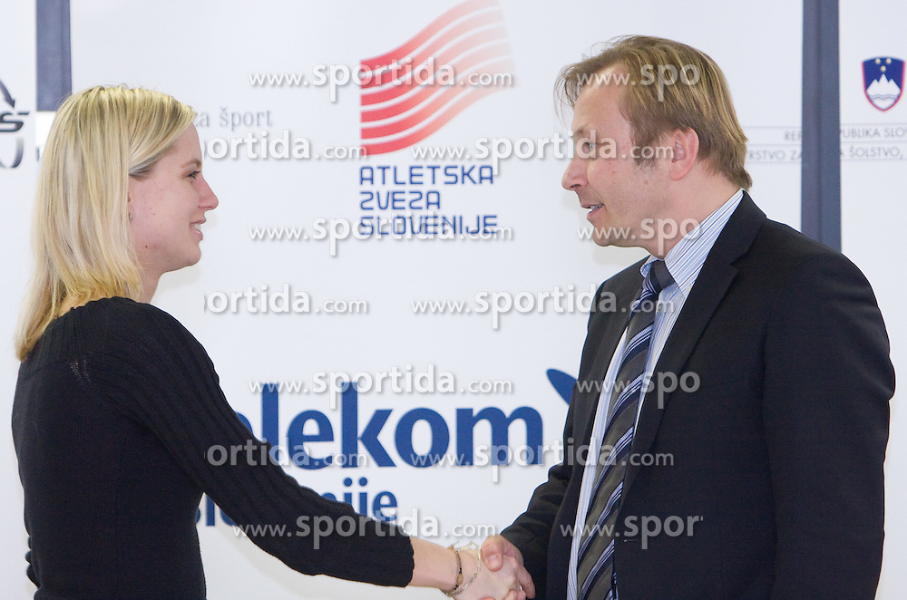 Marina Tomic and Peter Kukovica when Slovenian athletes and their coaches sign contracts with Athletic federation of Slovenia for year 2009,  in AZS, Ljubljana, Slovenia, on March 2, 2009. (Photo by Vid Ponikvar / Sportida)