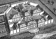 Huntingdon County Gaol and House of Correction, England, built c1828 to design by William Wilkins. Radiating principle: Treadmills for grinding corn and raising water worked by prisoners: Prison uniform: Chaplain, The Rev. HA Maule. Woodcut, London, 1836.