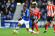 Didier Ndong of Sunderland fouls as he stands on the foot of Ademola Lookman of Everton. Premier league match, Everton v Sunderland at Goodison Park in Liverpool, Merseyside on Saturday 25th February 2017.<br /> pic by Chris Stading, Andrew Orchard sports photography.