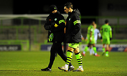Elliott Whitehouse and Jordan Moore-Taylor of Forest Green Rovers after the final whistle - Mandatory by-line: Nizaam Jones/JMP - 16/01/2021 - FOOTBALL - innocent New Lawn Stadium - Nailsworth, England - Forest Green Rovers v Port Vale - Sky Bet League Two