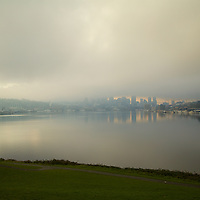 Green, Grey & a little light yellow from a muted sunrise on a frozen winter morning on Lake Union
