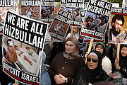 London 28/09/08: International al-Quds (Jerusalem) Day: Women  joined the march carrying placards