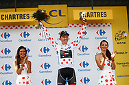Podium, Hotess, miss, Toms Skujins (LAT - Trek - Segafredo) Polka dots jersey, during the 105th Tour de France 2018, Stage 7, Fougeres - Chartres (231km) on July 13th, 2018 - Photo Luca Bettini / BettiniPhoto / ProSportsImages / DPPI