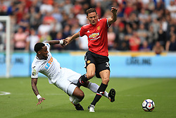 19 August 2017 -  Premier League - Swansea City v Manchester United - Nemanja Matic of Manchester United in action with Leroy Fer of Swansea City - Photo: Marc Atkins/Offside