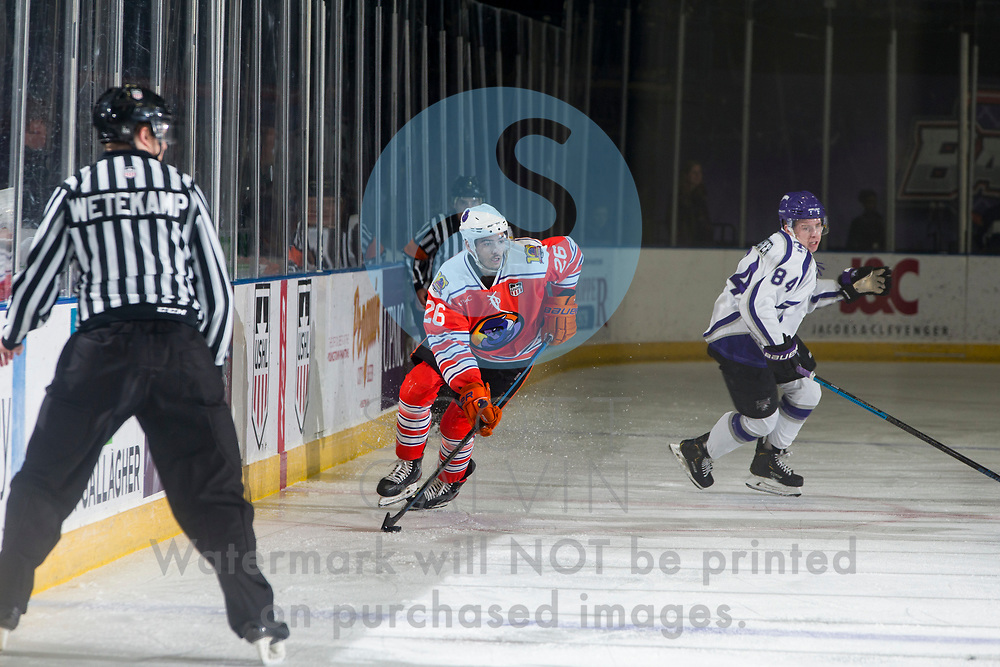 Youngstown Phantoms lose 4-1 to the Tri-City Storm at the Covelli Centre on January 17, 2020.<br /> <br /> Josh DeLuca, forward, 26