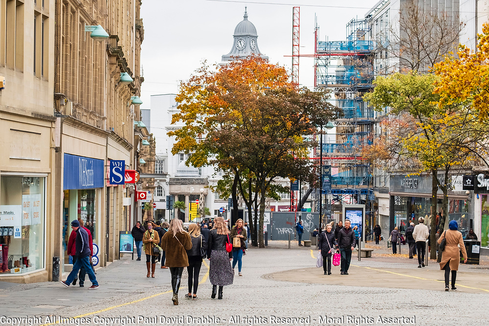 Fargate in Sheffield City Centre on the first day of tier 3 Covid restrictions Saturday 24th October 2020<br /> <br /> www.pauldaviddrabble.co.uk<br /> All Images Copyright Paul David Drabble - <br /> All rights Reserved - <br /> Moral Rights Asserted -