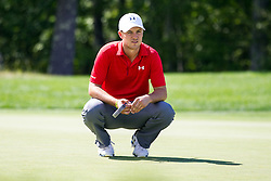 September 2, 2016; Norton, MA, USA; Jordan Spieth kneels during the first round of the Deutsche Bank Championship at TPC Boston. Anthony Nesmith/Cal Sport Media(Credit Image: © Anthony Nesmith/Cal Sport Media via ZUMA Wire)