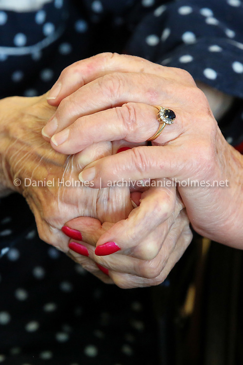 (12/10/18, UXBRIDGE, MA) Uxbridge resident Harriet Curry, 96, and her sister Betsy Baker, 85, of Exeter NH, hold hands in Uxbridge on Monday. [Daily News and Wicked Local Photo/Dan Holmes]