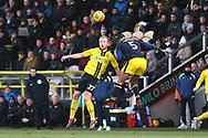 Burton Albion forward Liam Boyce (27) and Oxford United's Curtis Nelson (5) during the EFL Sky Bet League 1 match between Burton Albion and Oxford United at the Pirelli Stadium, Burton upon Trent, England on 2 February 2019.