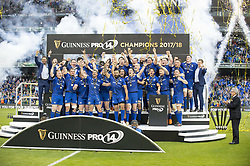 May 27, 2018 - Dublin, Ireland - Leinster players celebrate victory during the Guinness PRO14 Final match between Leinster Rugby and Scarlets at Aviva Stadium in Dublin, Ireland on May 26, 2018  (Credit Image: © Andrew Surma/NurPhoto via ZUMA Press)