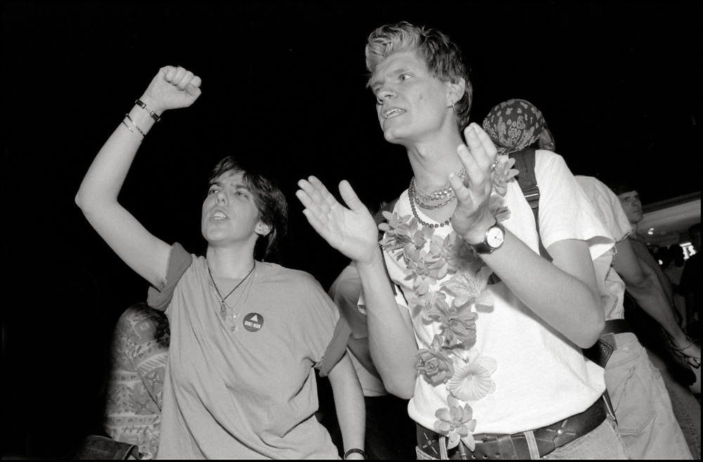 On April 28th, 1990, a pipe bomb exploded at a crowded gay bar, Uncle Charlie's, in New York City. Three people were injured. The following night 1500 people marched through the West Village to express their concern over the increasing incidence of violence directed at gay people and their outrage that the bombing was not designated a bias-related crime.<br /> <br /> Ellen Neipris and Rod Sorge pictured.