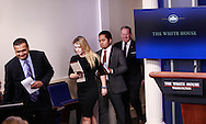 The press office staff followed by Sean Spicer files into the daily press briefing by press secretary Sean Spicer in the White House press briefing room on February 23,2017<br /> <br /> Photo by Dennis Brack
