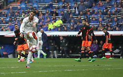 April 29, 2017 - Madrid, Spain - MADRID, SPAIN. APRIL 29th, 2017 - Cristiano Ronaldo kicks the ball away. La Liga Santander matchday 35 game. Real Madrid defeated 2-1 Valencia with goals scored by Cristiano Ronaldo (26th minute) and Marcelo (86th minute). Parejo (82nd minute) scored for Valencia. Santiago Bernabeu Stadium. Photo by Antonio Pozo | PHOTO MEDIA EXPRESS (Credit Image: © Antonio Pozo/VW Pics via ZUMA Wire/ZUMAPRESS.com)