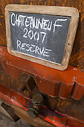 tank door sign on tank 2007 reserve domaine roger sabon chateauneuf du pape rhone france