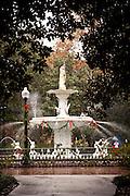 Forsyth Fountain in Forsyth Park at Christmas Savannah, GA