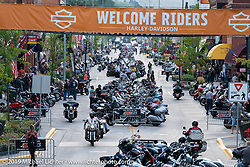 Main Street from the tower during the Sturgis Black Hills Motorcycle Rally. Sturgis, SD, USA. Saturday, August 10, 2019. Photography ©2019 Michael Lichter.