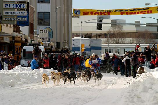 GCI Open North American Championship Sled Dog Race. Fairbanks, Alaska. March. Winter.