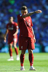 Roberto Firmino of Liverpool gestures - Mandatory by-line: Nizaam Jones/JMP - 21/04/2019 -  FOOTBALL - Cardiff City Stadium - Cardiff, Wales -  Cardiff City v Liverpool - Premier League