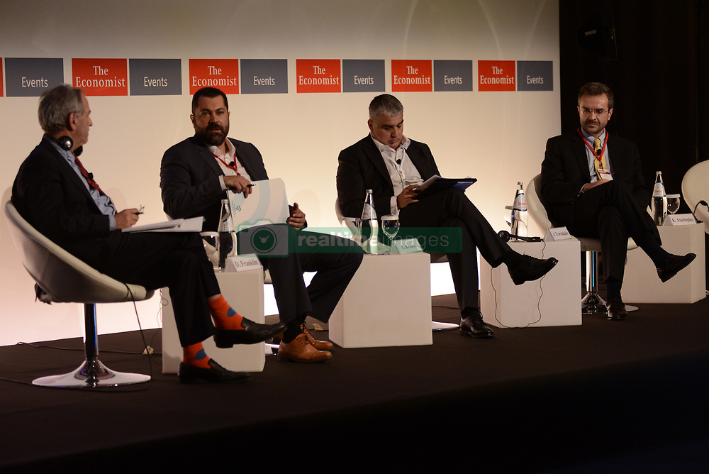 June 28, 2017 - Athens, Attiki, Greece - From the left side: Daniel Franklin executive editor of the Economist and editor of The World In, Lefteris Kretsos, secretary-general for digital policy, media and communication of Greece, Antonis Tzortzakakis, chief officer fixed line and B2B of Wind and Kostas Axar;oglou, dean and professor of  international business and strategy of LABA Graduate Business School. The 21st Economist Government Roundtable is giving the opportunity to participants to discuss and debate with distinguished speakers from both sides of Atlantic on key issues related to critical developments in Europe and the U.S. (Credit Image: © Dimitrios Karvountzis/Pacific Press via ZUMA Wire)
