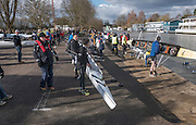 Molesey, Surrey. Competitors queueing to boat for the Molesey Veterans Head. Saturday  21/02/2015  [Mandatory Credit; Peter Spurrier/Intersport-images]
