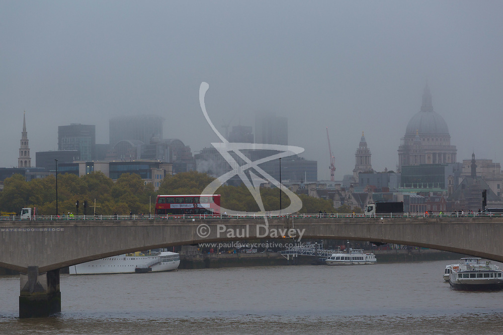 London, October 26 2017. The City skyline is partially obscured by fog as London wakes up to a cool, misty autumn morning. © Paul Davey