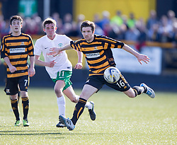 Hibernian's Sam Stanton and Alloa Athletic's Iain Flannigan.<br /> Alloa Athletic 2 v 1 Hibernian, Scottish Championship game played 30/8/2014 at Alloa Athletic's home ground, Recreation Park, Alloa.