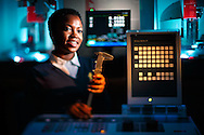 Gabrielle Rodgers, a junior at  North Carolina A&T State University, in the Manufacturing Lab in Graham Hall on the A&T campus, January 26, 2016. Originally from Maryland, she is the first person in her family to pursue post-secondary education. In addition to studying at the College of Engineering, Gabrielle is a Resident Advisor and a member of the Honors Program. JERRY WOLFORD and SCOTT MUTHERSBAUGH / Perfecta Visuals