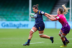 Sioned Harries of Worcester Warriors Women fends off the challenge of Sara Svoboda of Loughborough Lightning  - Mandatory by-line: Nick Browning/JMP - 14/11/2020 - RUGBY - Sixways Stadium - Worcester, England - Worcester Warriors Women v Loughborough Lightning - Allianz Premier 15s
