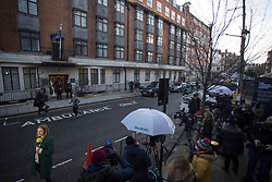 © Licensed to London News Pictures.18/02/2021. London, UK. Members of the press are seen outside King Edward VII Hospital in London where Duke of Edinburgh Prince Philip (99) was admitted on Tuesday night as a precaution after feeling unwell. Photo credit: Marcin Nowak/LNP