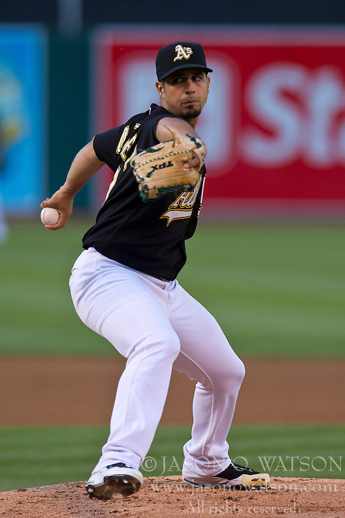 June 21, 2010; Oakland, CA, USA;  Oakland Athletics relief pitcher Gio Gonzalez (47) pitches against the Cincinnati Reds during the first inning at Oakland-Alameda County Coliseum.