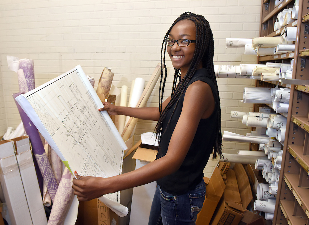 Photo by Mara Lavitt<br /> West Haven, CT<br /> July 27, 2016<br /> Workforce Alliance Summer Youth Employment Program participants at work in West Haven City Hall. Lamesha Randolph worked in the engineer's office.