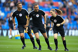 14 October 2017 -  Premier League - Crystal Palace v Chelsea - Referee Andre Marriner (C) with assistants Sian Massey-Ellis (R) and Simon Beck - Photo: Marc Atkins/Offside