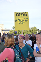 Protest outside City Hall, Norwich, following PM Boris Johnson's decision to suspend parliament in September. Norfolk UK 29 August 2019