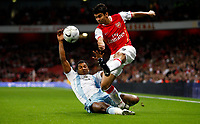 Photo: Richard Lane/Sportsbeat Images.<br />Arsenal v Newcastle United. Carling Cup. 25/09/2007. <br />Arsenal's Eduardo crosses as Newcastle's Habib Beye challenges.