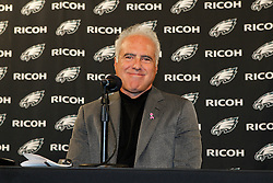 Philadelphia Eagles Owner Jeffrey Lurie speaks to the Media during a press conference inducting former Defensive Coordinator Jim Johnson and former defensive back Eric Allen into the Philadelphia Eagles Honor Roll before the NFL game between the Dallas Cowboys and the Philadelphia Eagles. The Eagles won 34-7 at Lincoln Financial Field in Philadelphia, Pennsylvania on Sunday, October 30th 2011. (Photo By Brian Garfinkel)