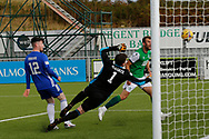 Christian Doidge (9) of Hibernian hits the post during the Betfred Scottish League Cup match between Cove Rangers and Hibernian at Balmoral Stadium, Aberdeen, Scotland on 10 October 2020.
