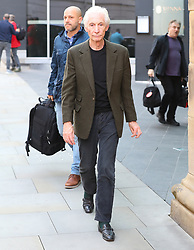 Charlie Watts of The Rolling Stones turn up at the Manchester hotel on Sunday evening ahead of the gig at Old Trafford Football Stadium on Tuesday