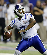 ATLANTA, GA - DECEMBER 31:  Quarterback Anthony Boone #7 of the Duke Blue Devils sets to throw a pass during the Chick-fil-A Bowl game against the Texas A&M Aggies at the Georgia Dome on December 31, 2013 in Atlanta, Georgia.  (Photo by Mike Zarrilli/Getty Images)