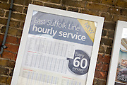 Timetable for East Suffolk railway line service, Woodbridge, Suffolk, England