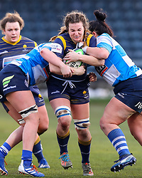 Jo Brown of Worcester Warriors Women is double-tackled by the DMP Durham Sharks defence - Mandatory by-line: Nick Browning/JMP - 09/01/2021 - RUGBY - Sixways Stadium - Worcester, England - Worcester Warriors Women v DMP Durham Sharks - Allianz Premier 15s