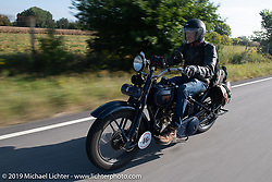 Australian (and Great Race organizer) Dave Reide riding his 1928 Harley-Davidson model J in the Motorcycle Cannonball coast to coast vintage run. Stage 6 (260 miles) from Bourbonnais, IL to Cedar Rapids, IA. Thursday September 13, 2018. Photography ©2018 Michael Lichter.