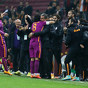 Galatasaray's Selcuk Inan celebrate his goal with team mate during their Ziraat Turkey CUP soccer match Galatasaray between Eskisehirspor at the AliSamiYen TT Arena at Seyrantepe in Istanbul Turkey on Wednesday, 03 December 2014. Photo by Kurtulus YILMAZ/TURKPIX
