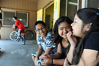 From left, in the background, Daniel Herrera, 11, on his bike, Rayan Pedrano, 12, Hope Carbajal, 10 and her sister Faith, 6, just hanging out at the Central Park Recreation Center in Salinas during spring break.