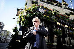 London Mayor Boris Johnson out campaigning in West London, Thursday April 12, 2012. Photo By Andrew Parsons/i-Images