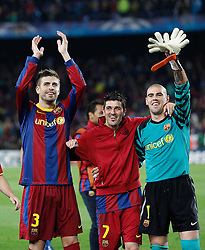 03-05-2011 VOETBAL: SEMI FINAL CL  FC BARCELONA - REAL MADRID: BARCELONA<br /> Victor Valdes, David Villa and Gerard Pique celebrate the victory<br /> *** NETHERLANDS ONLY***<br /> ©2011-FH.nl- EXPA/ Alterphotos/ Acero