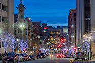 Looking down Post and Main Streets at dusk in downtown Spokane, Washington, USA