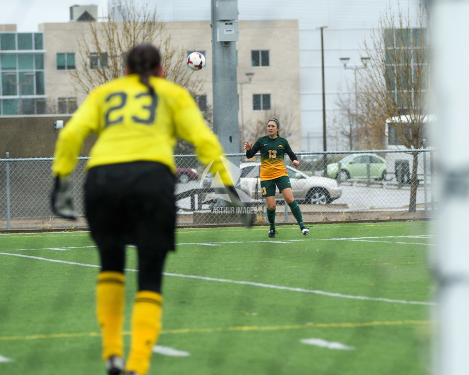 4th year midfielder Shayla Kapila (13) of the Regina Cougars in action during the Women's Soccer final home game on October 16 at U of R Field. Credit: Arthur Ward/Arthur Images