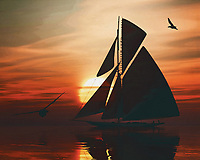 A sailboat sails on the sea at a beautiful sunset This painting easily brings the atmosphere of the sea to your home. This coastal scene can be printed in different sizes and on different materials. Both on canvas, wood, metal or framed so it certainly fits into your interior. –<br /> -<br /> BUY THIS PRINT AT<br /> <br /> FINE ART AMERICA / PIXELS<br /> ENGLISH<br /> https://janke.pixels.com/featured/sailing-boat-at-sunset-3-jan-keteleer.html<br /> <br /> <br /> WADM / OH MY PRINTS<br /> DUTCH / FRENCH / GERMAN<br /> https://www.werkaandemuur.nl/nl/shopwerk/Zeilboot-bij-zonsondergang-3/778269/132?mediumId=15&size=70x55<br /> –<br /> -