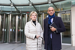 © Licensed to London News Pictures. 11/02/2018. London, UK. Anna Soubry MP and Chuka Umunna MP leaving BBC Broadcasting House after appearing on the Andrew Marr Show. Photo credit: Vickie Flores/LNP