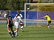 NAU's forward Chantal Deroos (Fr.) scores the second goal of the game on Sunday, Sept. 20, 2015. This would be Deroos' second goal of the season for the Lumberjacks. (Photo by David Carballido-Jeans)